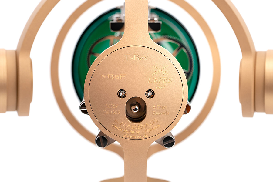 T-REX Bronze Clock back view