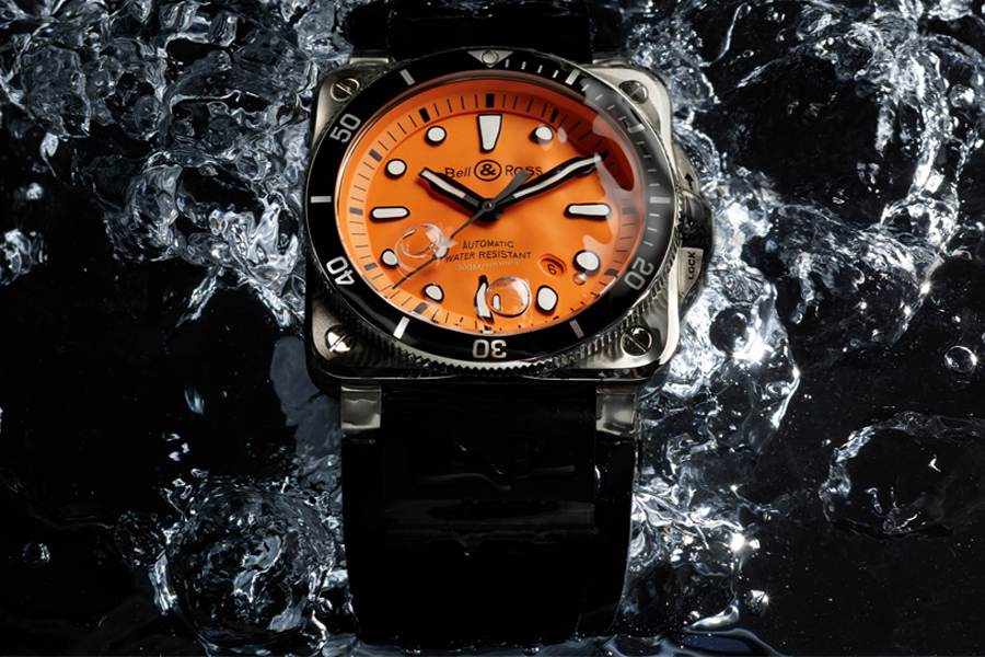 Bell & Ross BR 03-92 Diver Orange watch being splashed with water