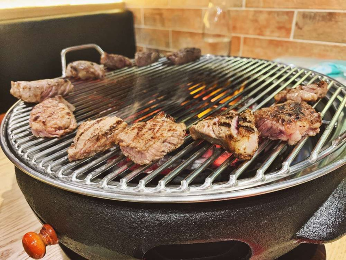 smoking meat on grill at bbq k doncaster