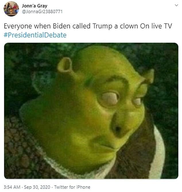 Presidential debate meme using Shrek's face