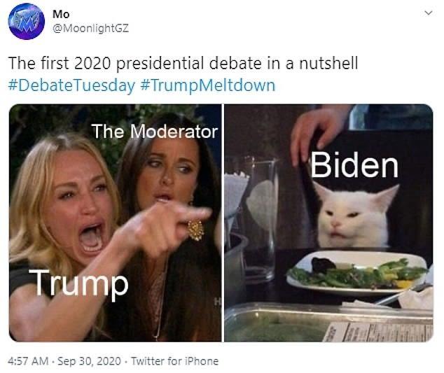Presidential debate x Women yelling at cat meme