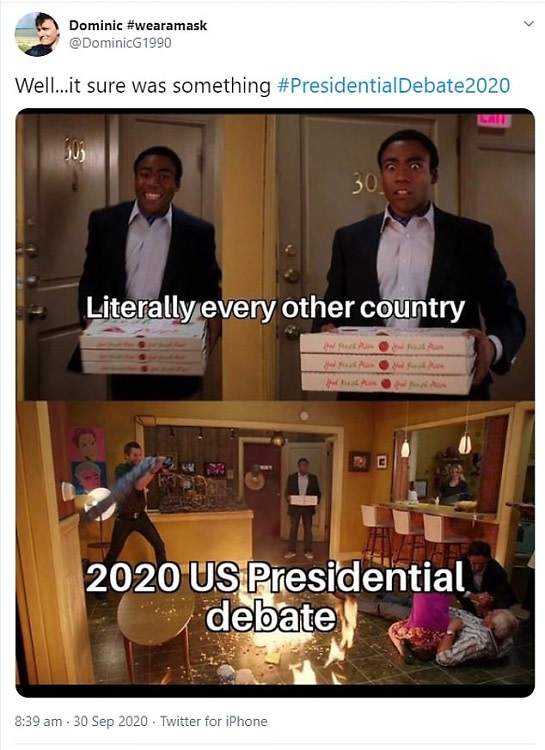 Presidential debate meme using a scene from Community