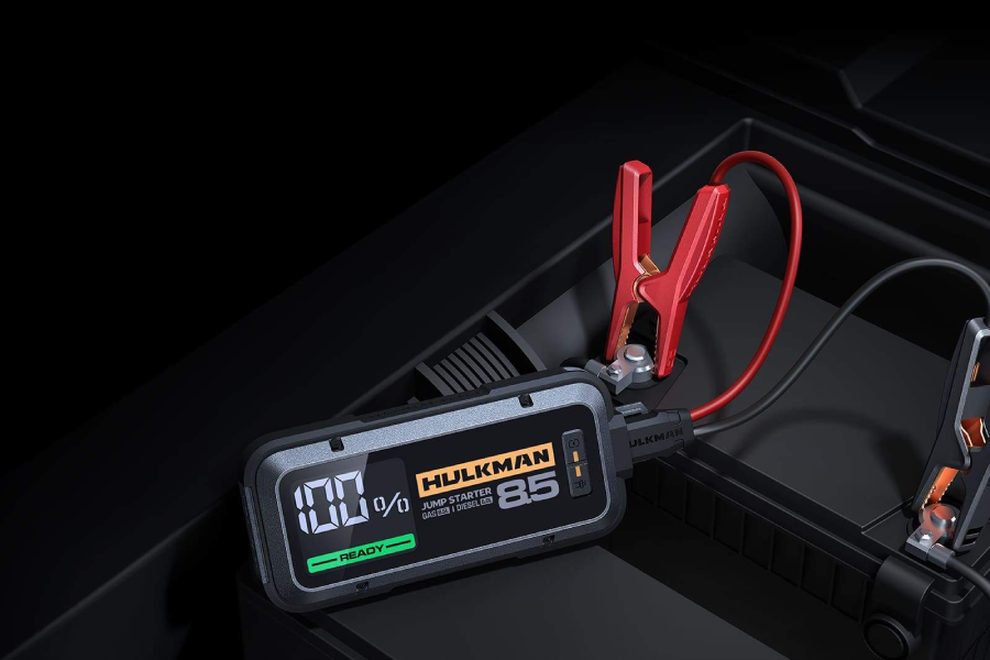 HULKMAN Alpha Series Jump Starter connected to battery