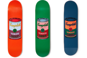 Three Andy Warhol Campbell's Tomato Soup can printed skateboards