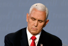 A fly in Mike Pence's hair