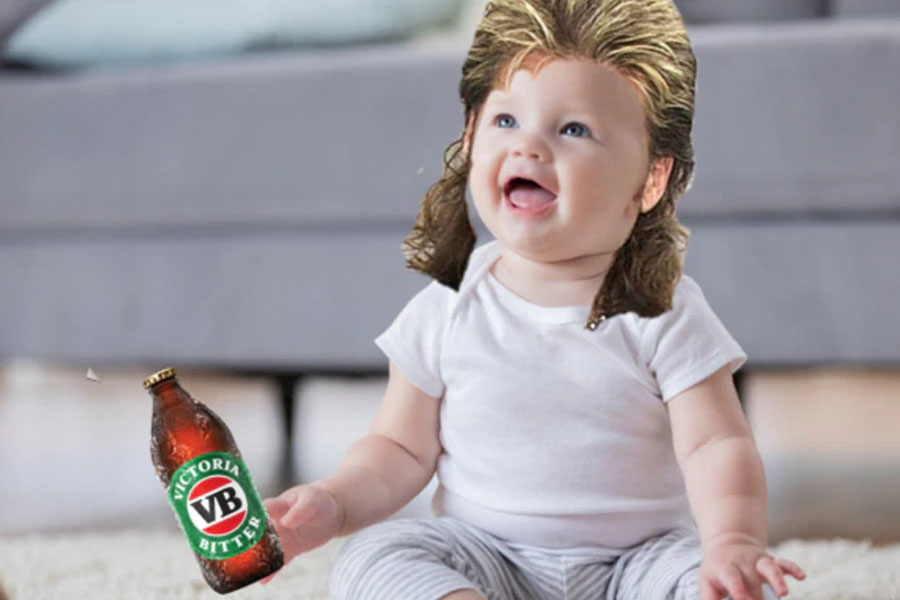 A baby edited with long-hairs holding a Victoria Bitter bottle