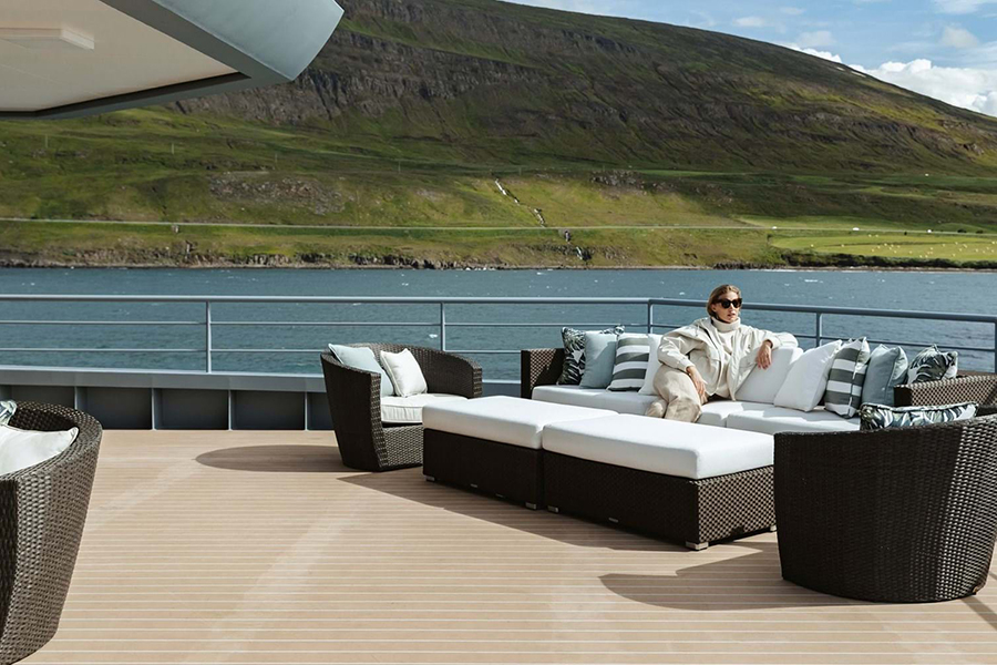 Burgess Yachts Ragner outside lounge