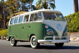 Electric Volkswagen bus three quarters three quarters on road