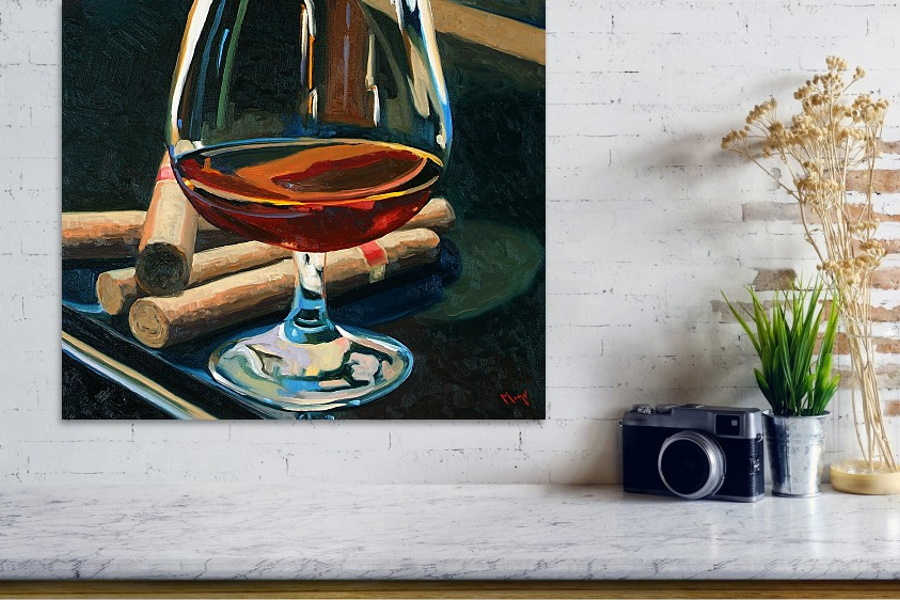 A wine glass and cigars poster on a wall