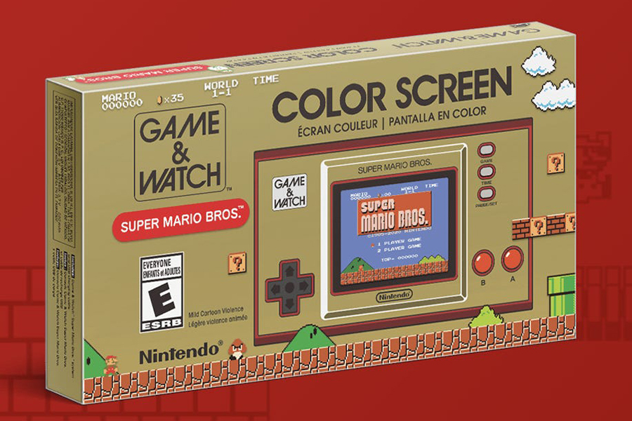 Game and Watch put the original super mario bros on a handheld box