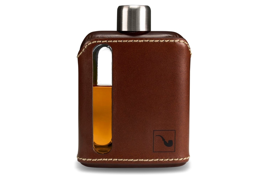 Ragproper Dark Brown Leather + Glass Flask