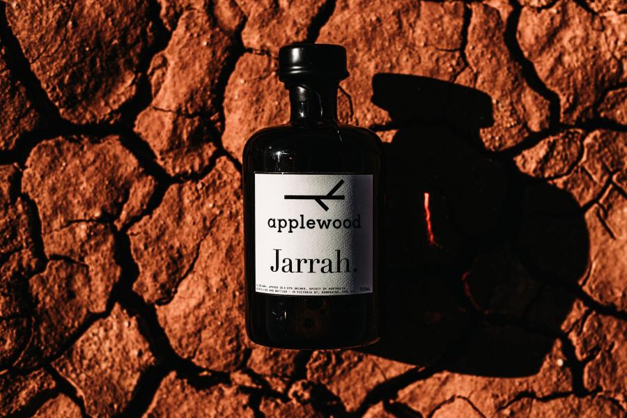 Jarrah Applewood Whisky bottle on a dry ground