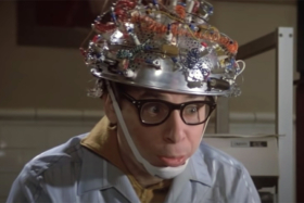 Rick Moranis with a helmet full of wires from Ghostbusters