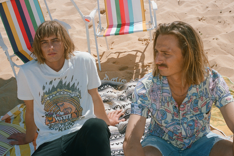 Oli & Louis Leimbach wearing clothes from Lime Cordiale x Wrangler Exclusive Capsule Collection