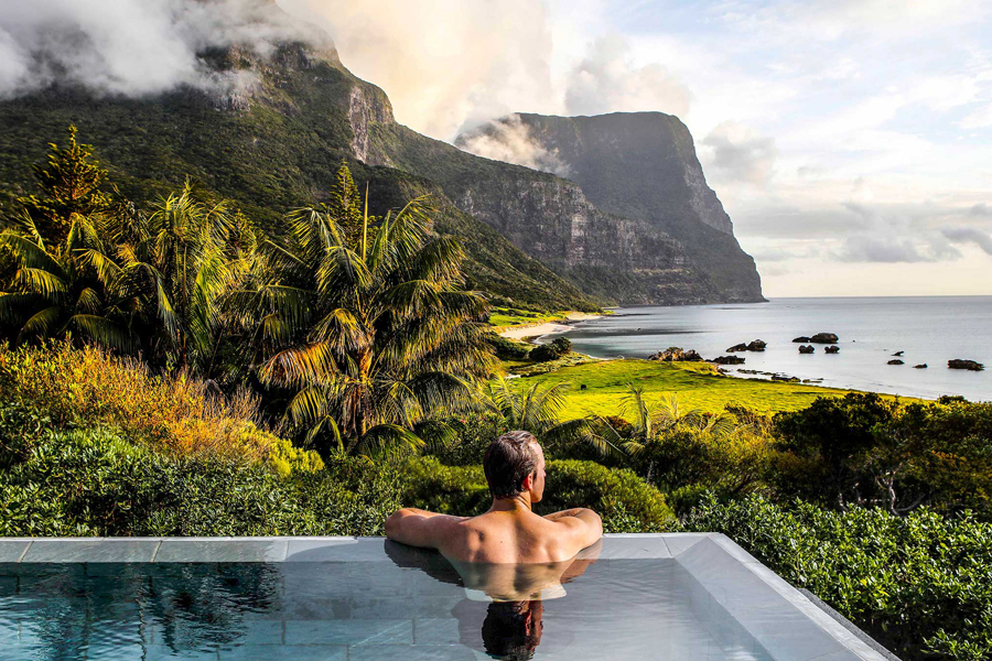 Lord Howe Island Capella Lodge Hot Tub Spa with views of Mount Gower