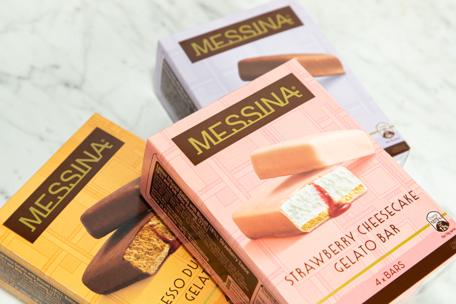Boxes of Messina Gelato bars