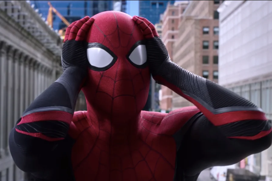 Tom Holland's spiderman with OMG reaction from Spiderman Far From Home