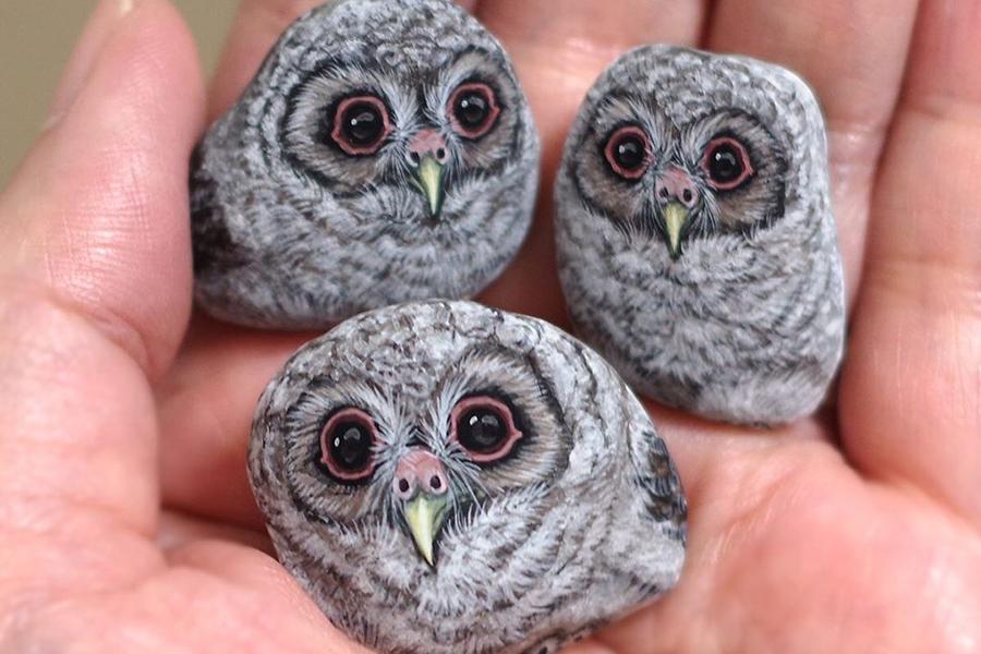 Japanese Artist Turns Stones Into Tiny Animals owl