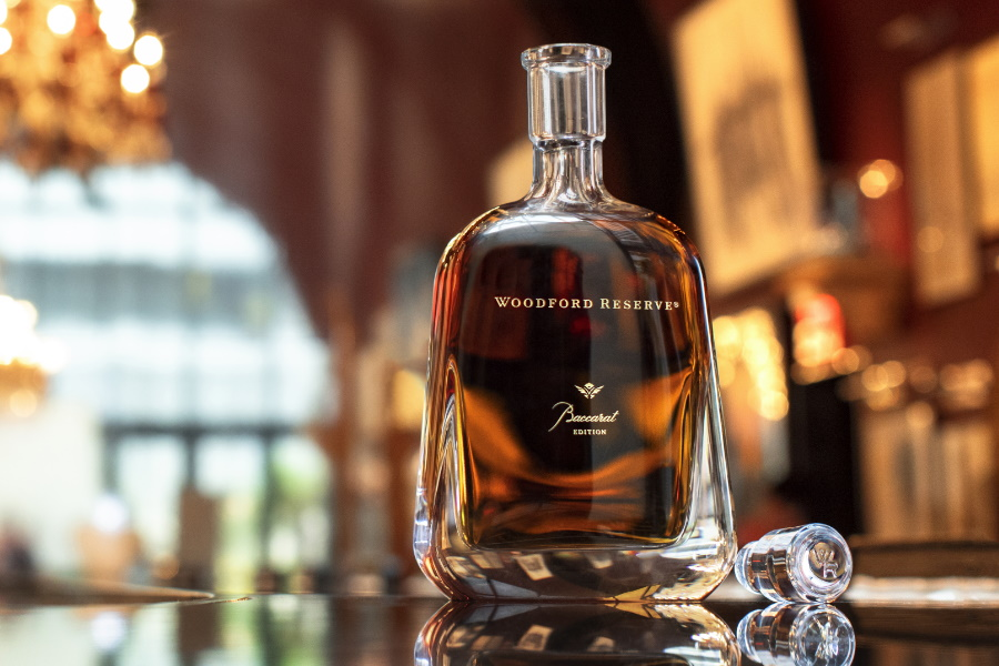A bottle of Woodford Reserve Bacarat edition