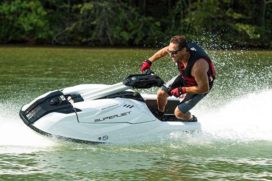 A man riding Yamaha Superjet