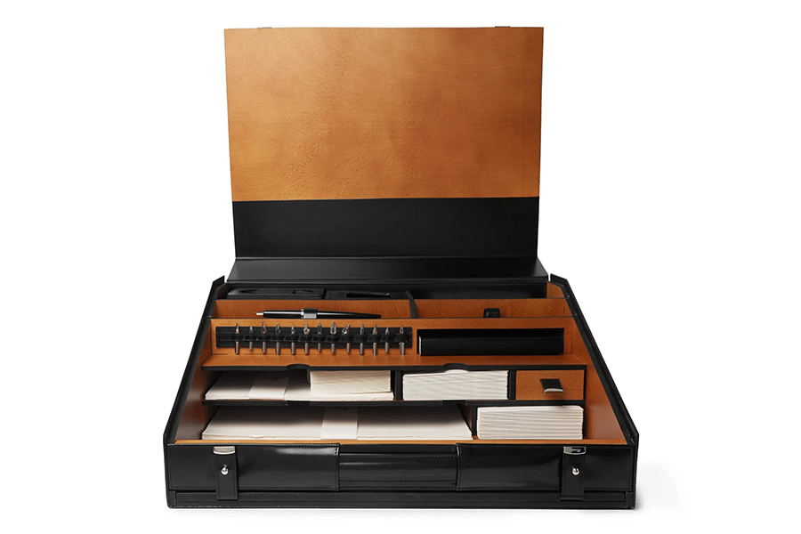 Christmas Gift Guide Luxury Pineider 1949 Leather Travel Writing Desk Set