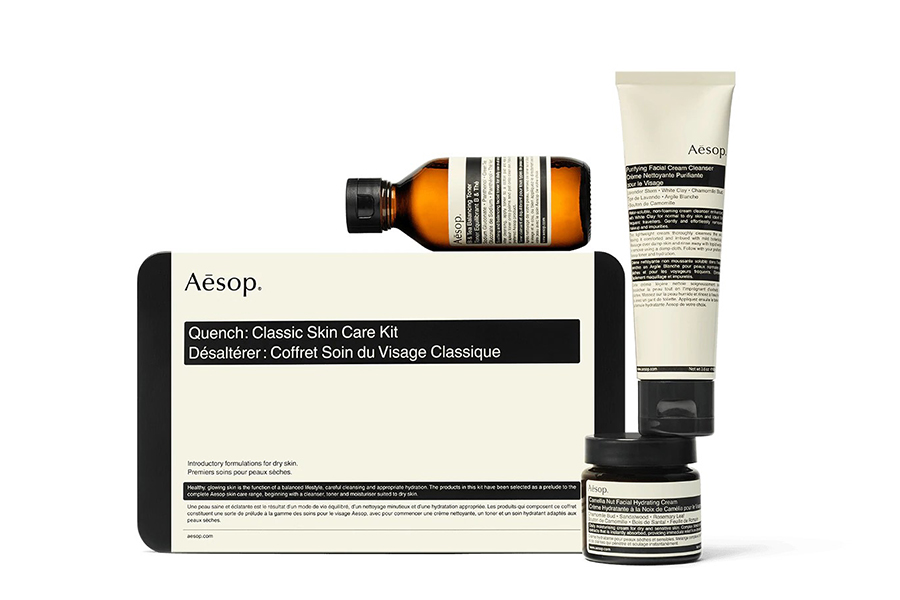 Christmas Gift Guide Groomer Aesop Product Quench Classic Skin Care Kit