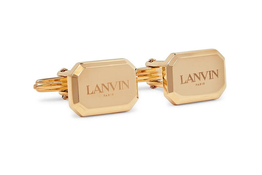 Lanvin Logo-Engraved Gold-Plated Cufflinks Christmas Gift Guide Stylish Man