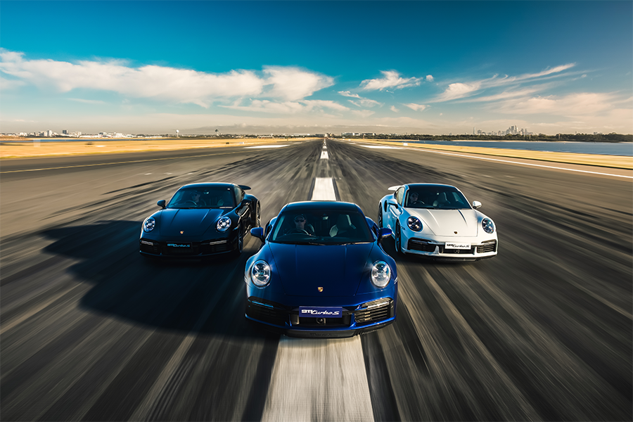 All 3 driving down the runway