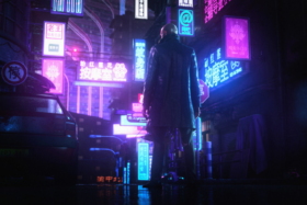 Character standing on a street with LED signboards in Japanese in Hitman 3