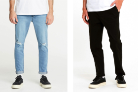 Legs with a blue and black jeans
