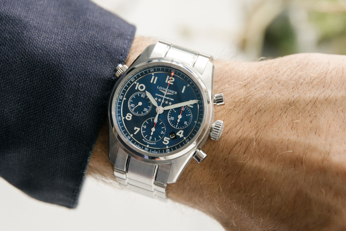 Longines Spirit L3.820.4.93.6 watch on a man's wrist