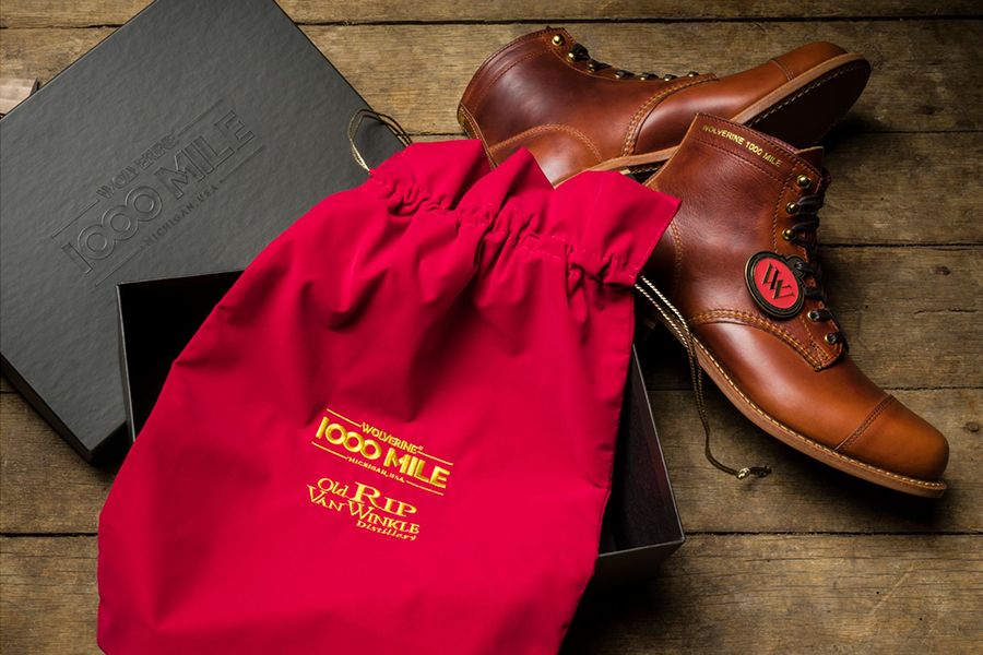 Men's Old Rip X 1000 Mile Cap Toe Boot with red bag