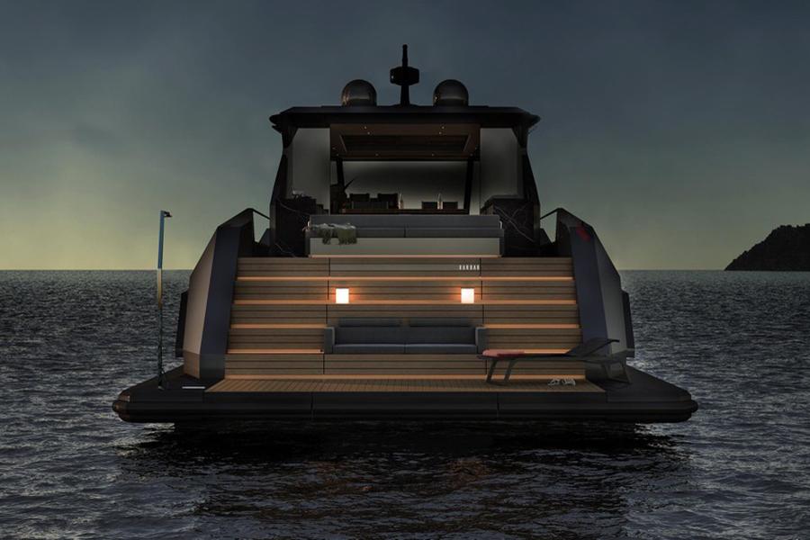 Mazu 82 yacht rear view