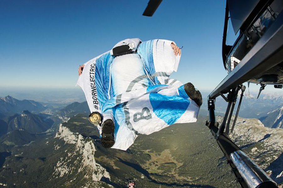Peter Salzman BMW Electrified Wingsuit jump