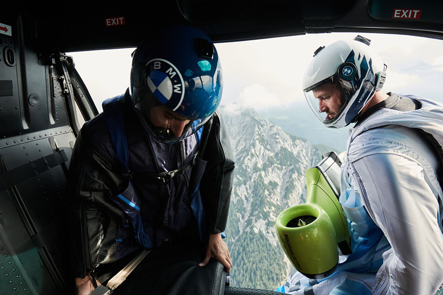 Peter Salzman BMW Electrified Wingsuit onboard helicopter