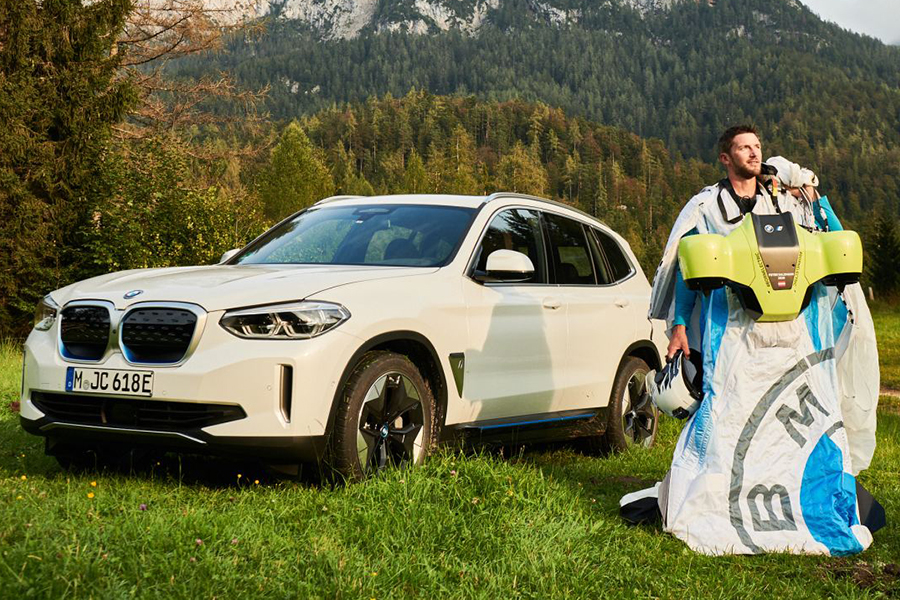 Peter Salzman BMW Electrified Wingsuit car