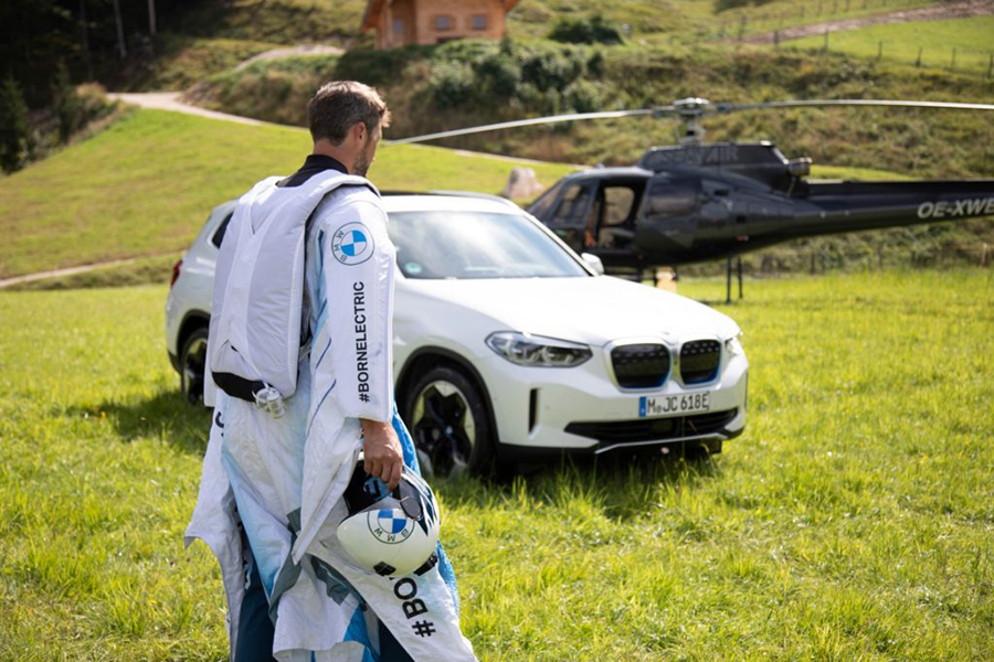 Peter Salzman BMW Electrified Wingsuit ready