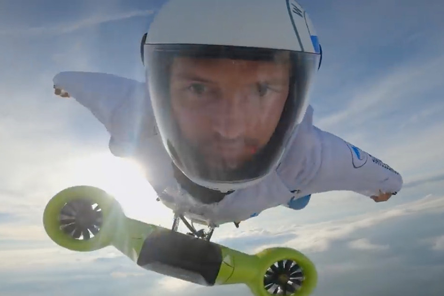 Peter Salzman BMW Electrified Wingsuit flying high