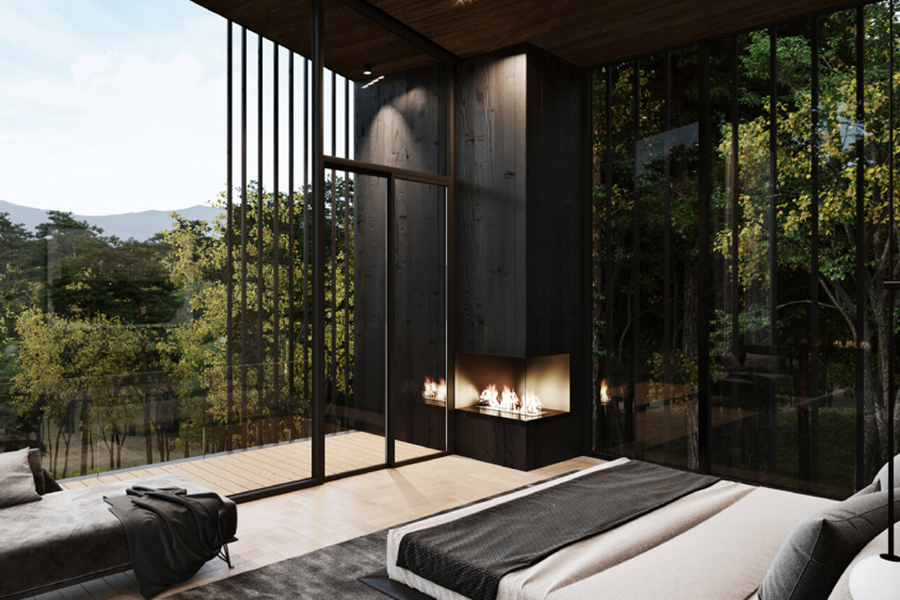 Sylvan Rock Aston Martin Designed house fireplace