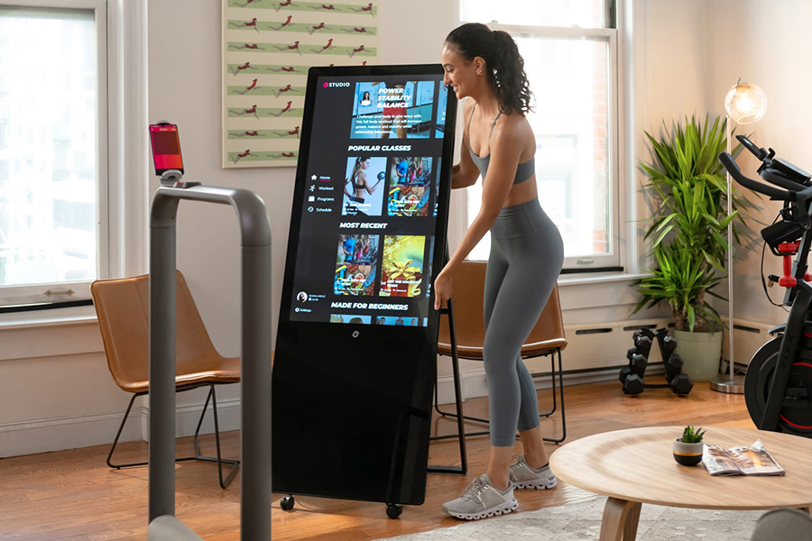 The Studio Smart Hub for Your Home Gym can stand in the corner