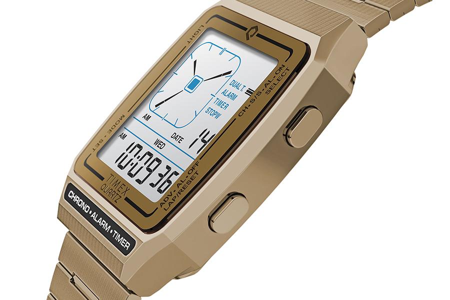 Timex Q Reissue with Digital LCA side