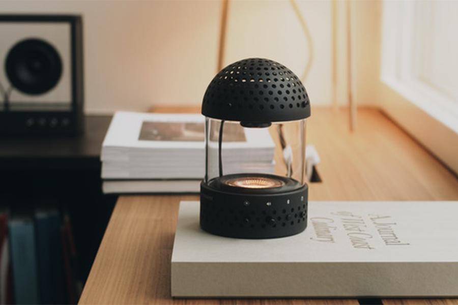Transparent Sound Speaker on a tabletop