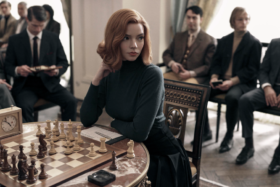 Anya Taylor-Joy at a chess table in The Queen's Gambit