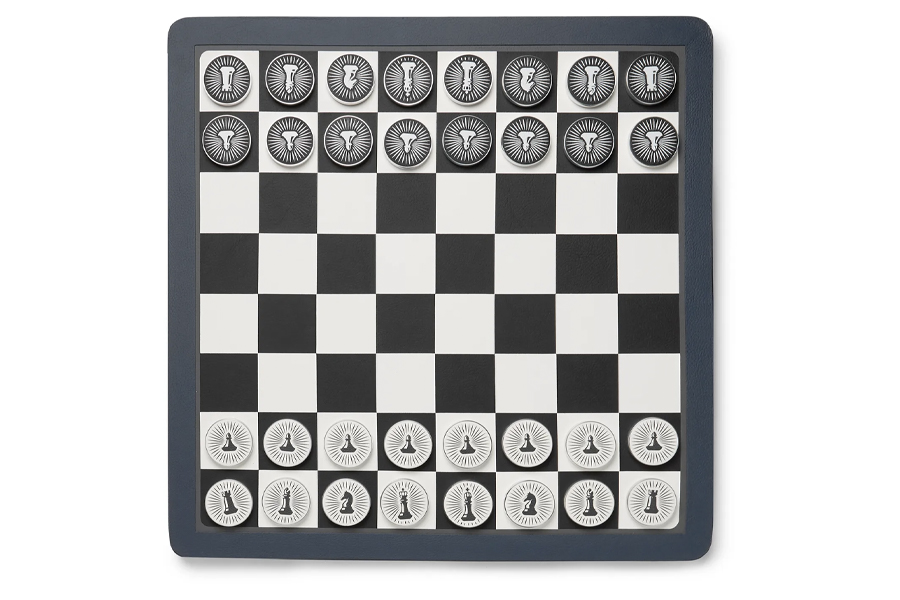Best Chess Sets - William & Son Reversible Leather Checkers and Chess Board