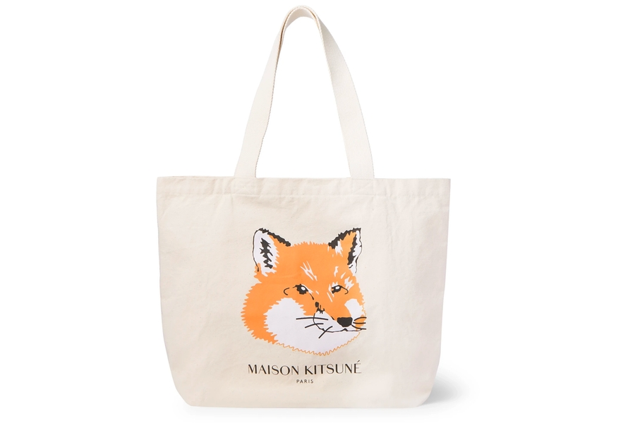 Maison Kitsune Logo-Print Cotton-Canvas Tote Bag