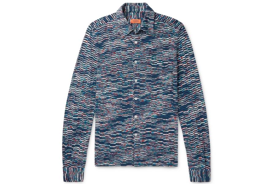 Missoni Space-Dyed Crochet-Knit Cotton Shirt