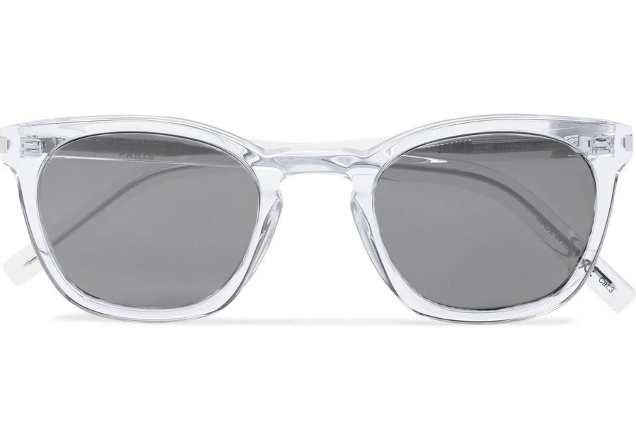 SAINT LAURENT D-Frame Acetate and Silver-Tone Sunglasses