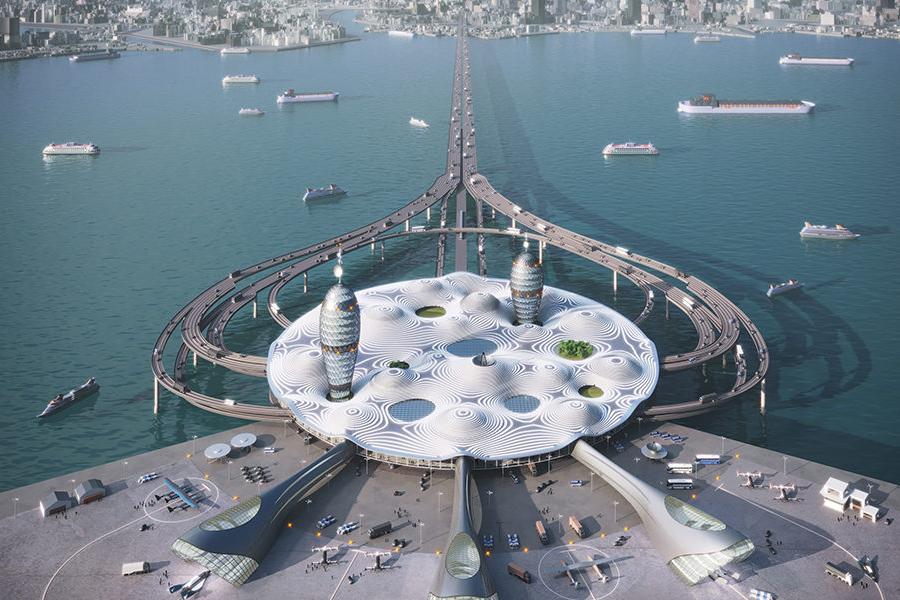 Noiz Japanese Spaceport City aerial view
