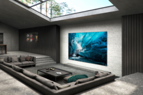Samsung 110 inch MicroLED on a wall in a front room