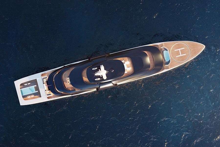 Tfotiadis Design 95m Ultra2 Super Yacht aerial view